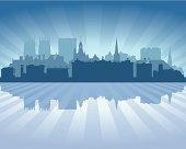 York England Blue City skyline silhouette