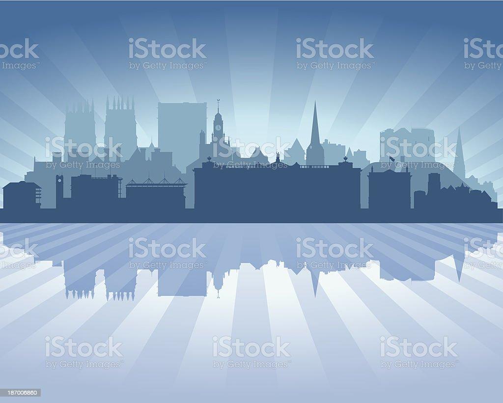 York England Blue City skyline silhouette vector art illustration