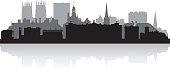 York UK city skyline silhouette