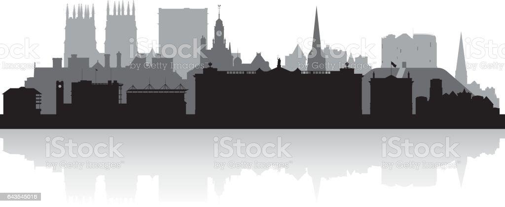 York UK city skyline silhouette vector art illustration