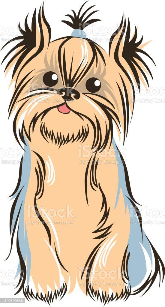 Yorkshiere terrier outline sketch vector art illustration