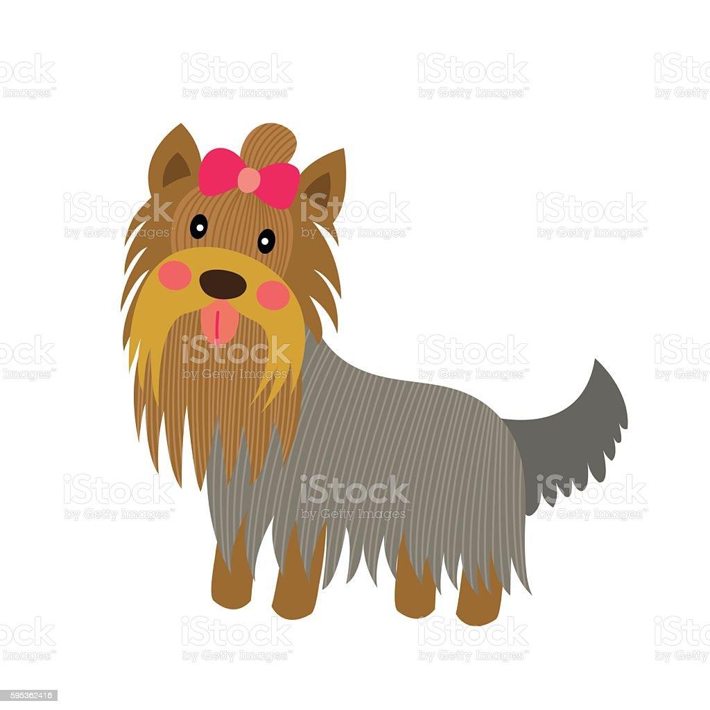 Yorkshire Terrier Dog Animal Cartoon Character Vector Illustration