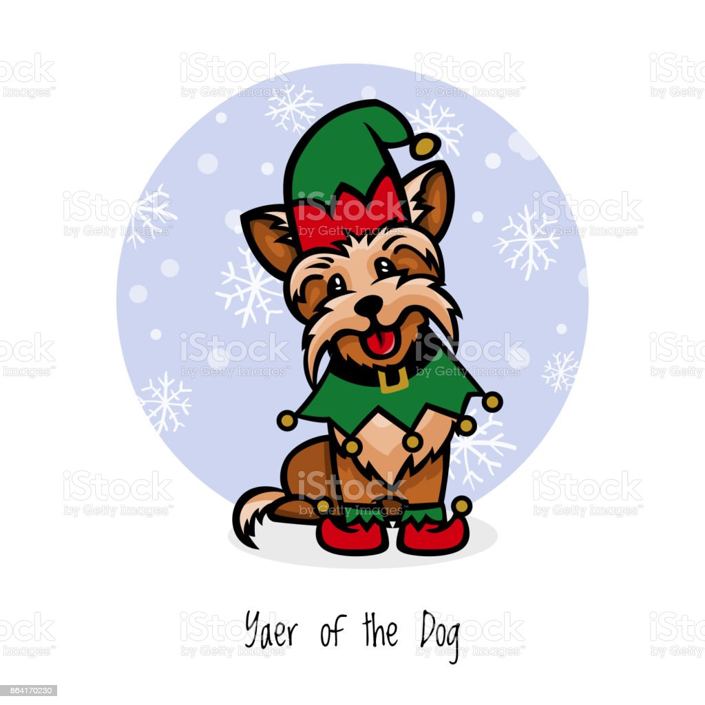 yorkshire terrier little assistant santa royalty-free yorkshire terrier little assistant santa stock vector art & more images of animal