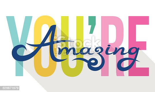 istock You Are Amazing colorful calligraphy note card 525671579