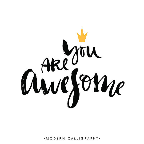stockillustraties, clipart, cartoons en iconen met you are awesome. modern brush calligraphy. - ontzag