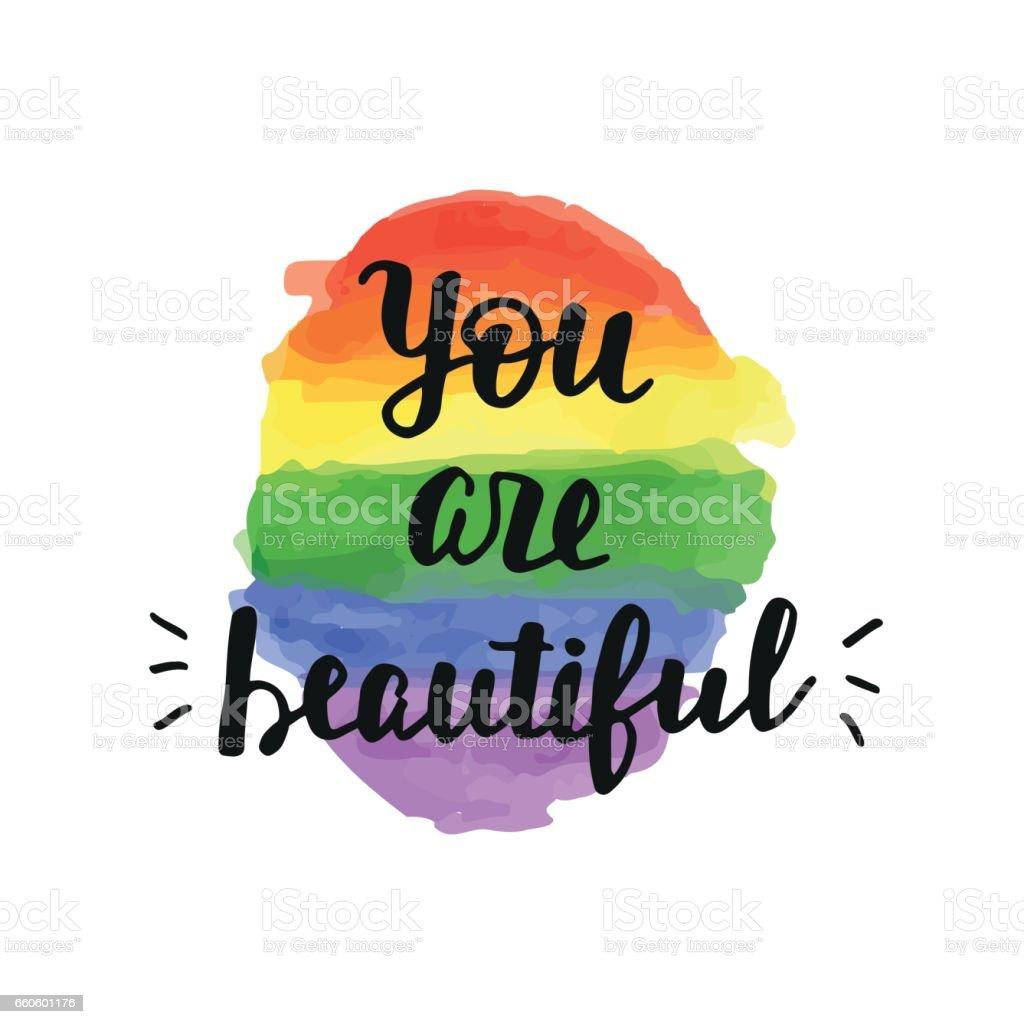 Eres bella. Cartel de la Gay Pride - ilustración de arte vectorial