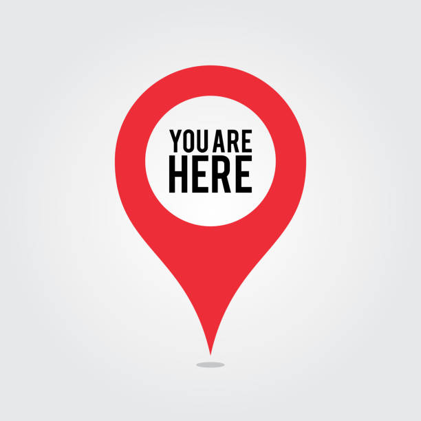 You Are Here Location Pointer Pin You Are Here Location Pointer Pin global positioning system stock illustrations