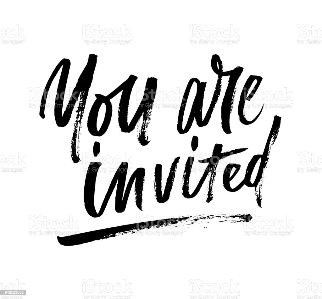 You Are Invited Brush Lettering Invitation Stock Vector Art & More ...