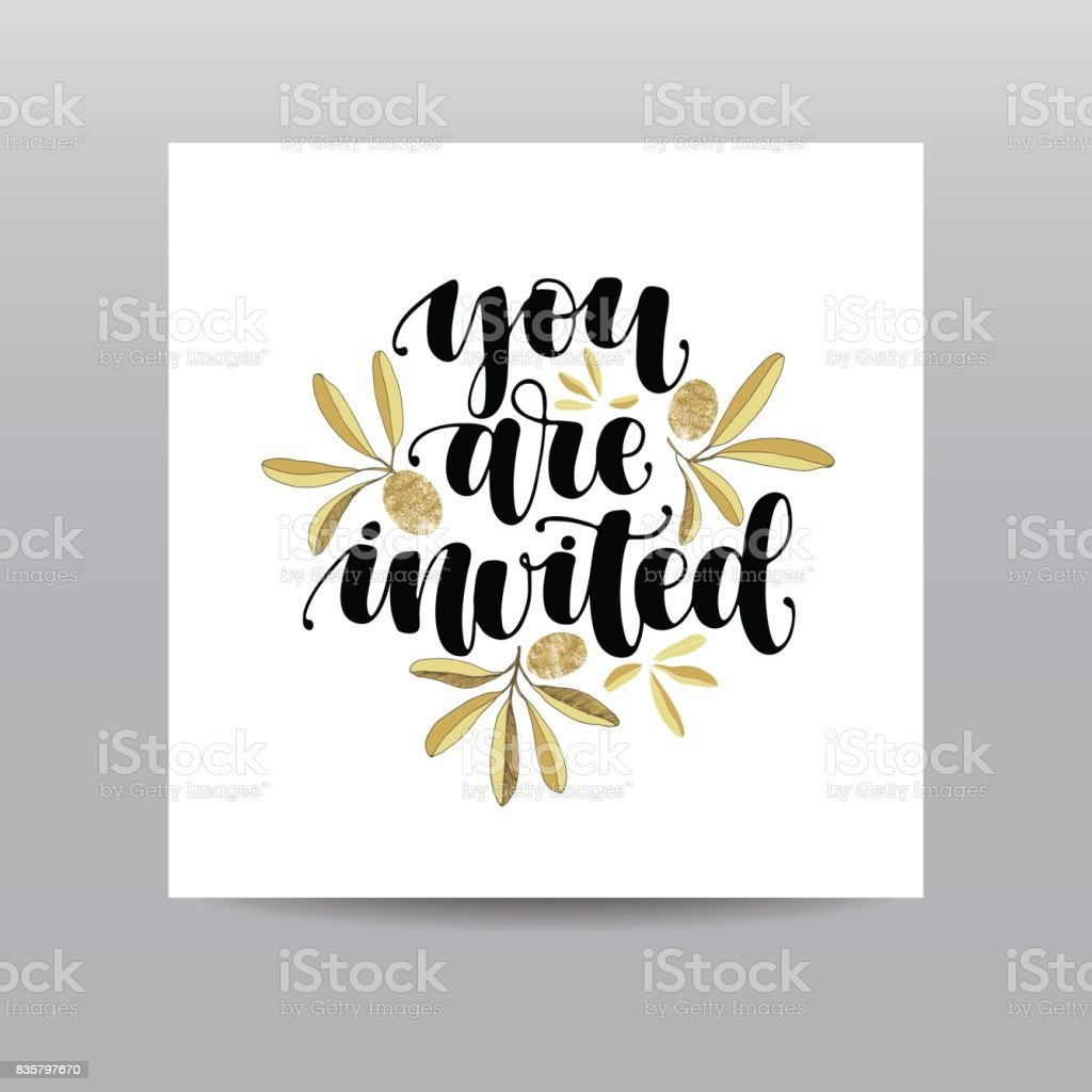 You Are Invited Hand Written Calligraphy Phrase With Gold Glitter ...