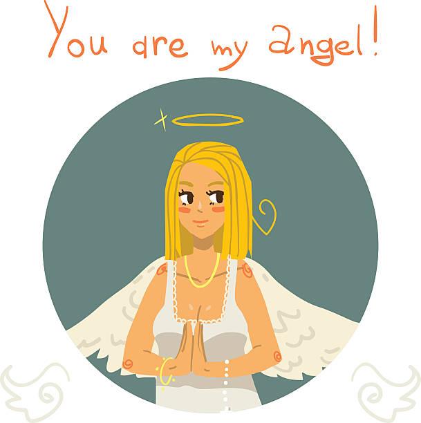 You are my angel girl cartoon greeting card. vector art illustration