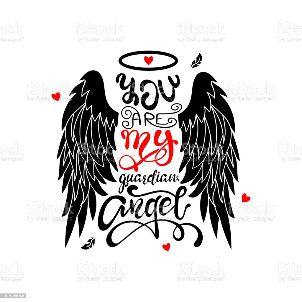 Ange Gardien Protecteur Tatouage tu es mon ange gardien lettres isolées ailes dange de dessin