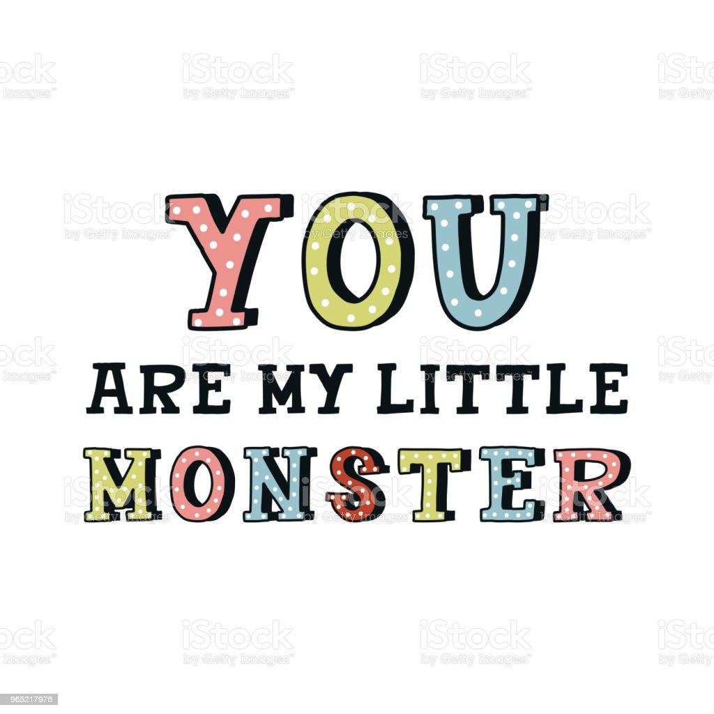 You are my little monster - nursery hand drawn lettering. Color kids vector illustration in scandinavian style you are my little monster nursery hand drawn lettering color kids vector illustration in scandinavian style - stockowe grafiki wektorowe i więcej obrazów brzydota royalty-free