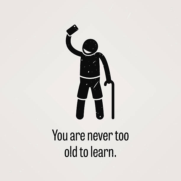 you are never too old to learn - old man stick figure pics stock illustrations, clip art, cartoons, & icons
