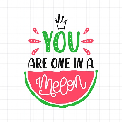 You are one in a melon quote with hand drawn lettering and watermelon ion sheet of paper. Colorful vector illustration in cartoon style. Concept design for t-shirt, print, poster, badge, card