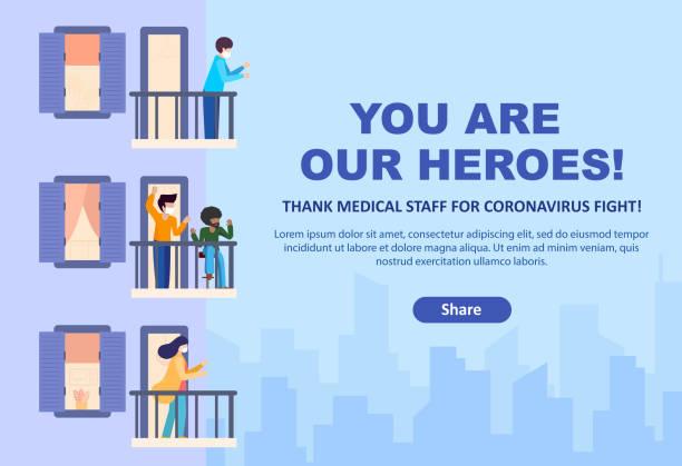 당신은 우리의 영웅입니다. 의료진에게 감사의 행동을 권유합니다. 사람들은 발코니와 고층 건물의 테라스에 서서 박수, 동정. 집에 있어. 격리 및 자기 격리. - nursing home stock illustrations