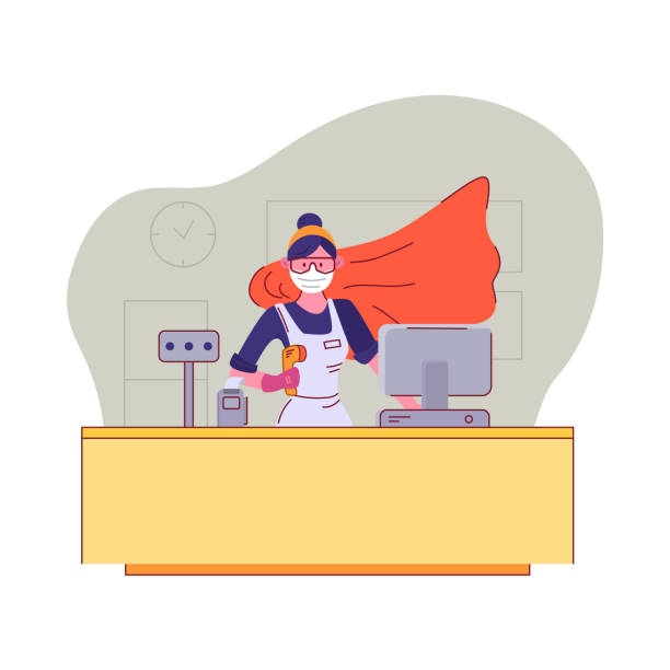 you are our heroes. seller in medical mask and goggles stands behind the cash register in a supermarket with a superhero cloak during quarantine. appreciation to sales staff. vector illustration. - essential workers stock illustrations