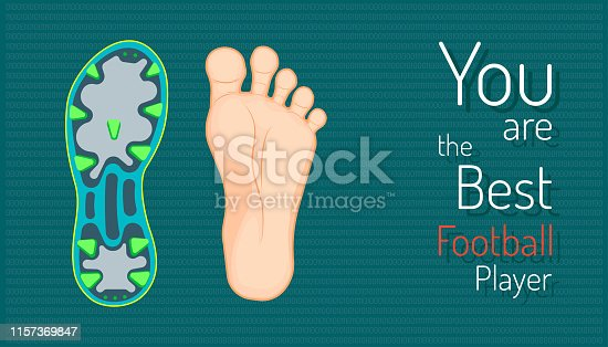 you are the best football player. left foot and right football boots. beautiful color background. vector illustration eps10