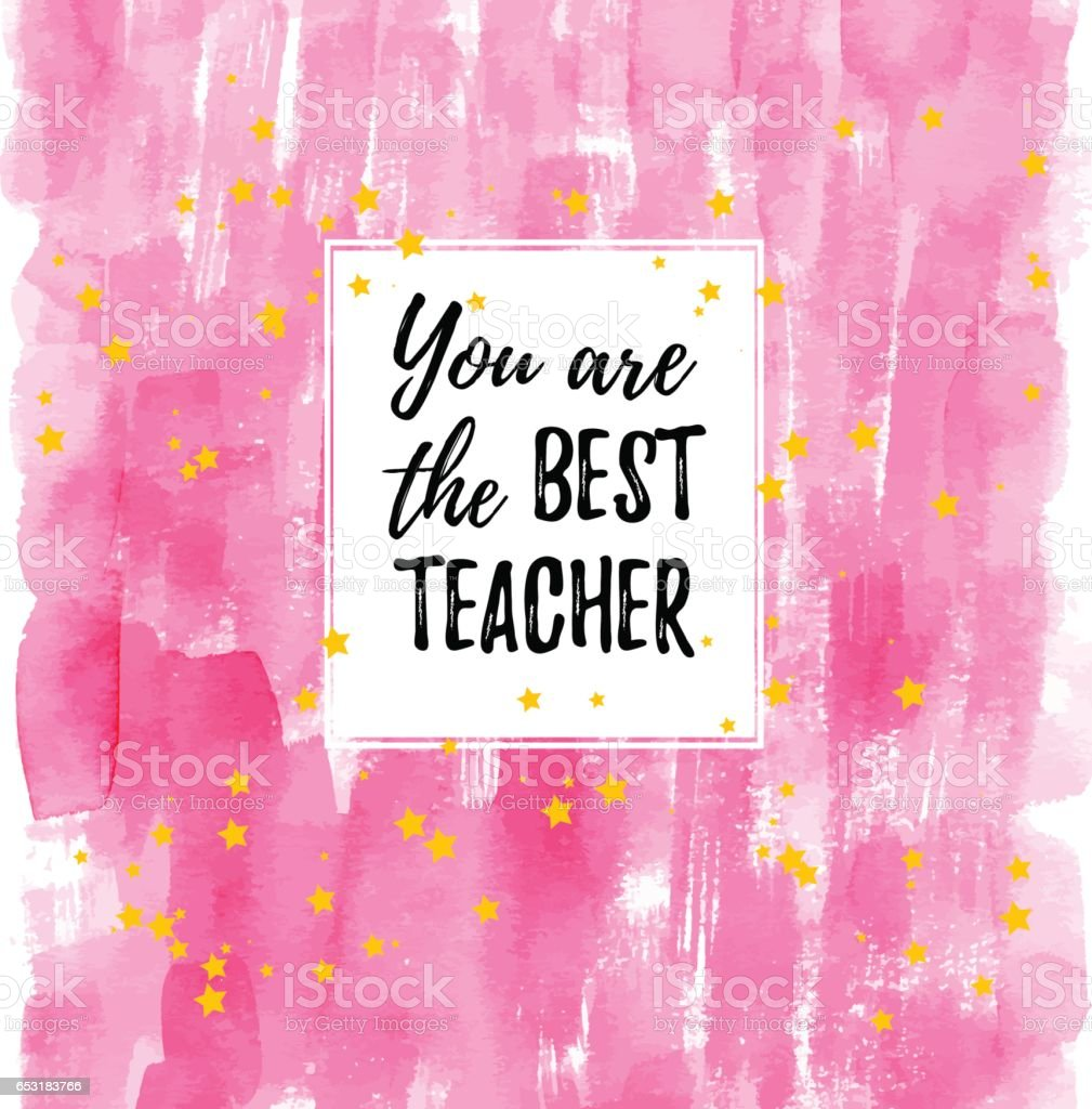 You Are The Best Teacher Label Greeting Card Poster Vector Quote On