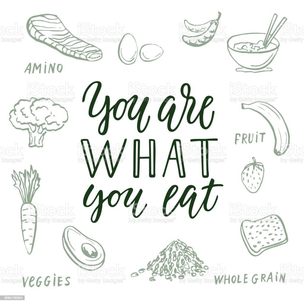 You Are What You Eat Calligraphic Quote And Food Drawings On