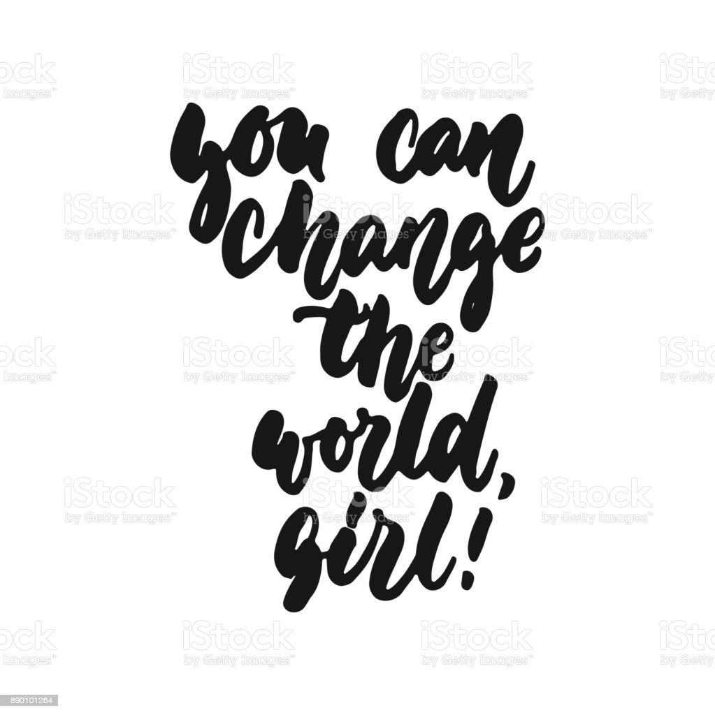Vetores De Você Pode Mudar O Mundo Garota Mão Desenhada