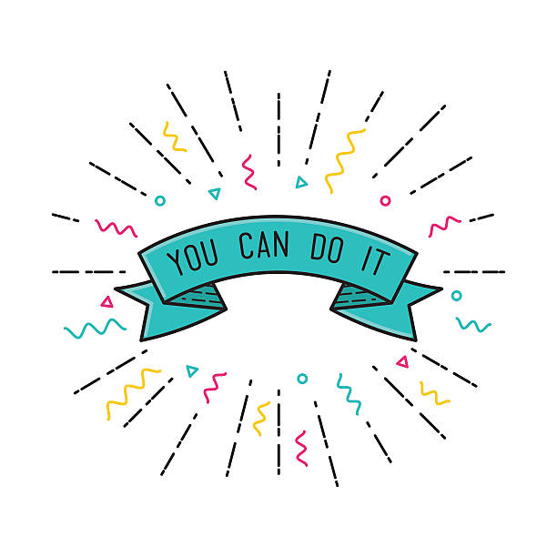 Du schaffst es! Inspirierende Vektor-illustration, motivierende Zitate Flachbildfernseher – Vektorgrafik