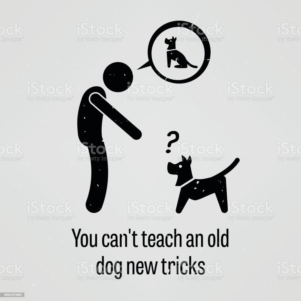 You Cannot Teach an Old Dog New Tricks vector art illustration
