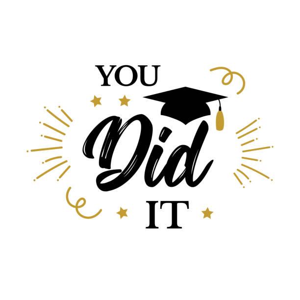 ilustraciones, imágenes clip art, dibujos animados e iconos de stock de lo hiciste congrats graduados clase del partido de 2019 - graduación
