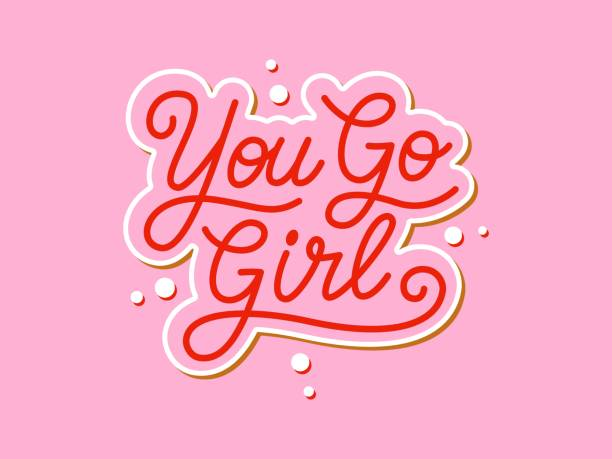 ilustrações de stock, clip art, desenhos animados e ícones de you go girl handwritten slogan. colorful vector illustration with hand drawn lettering typography. woman motivational quote for poster, t-shirt, banner, card, sticker, badge, print - mobility