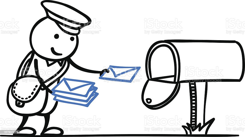 royalty free mail postal worker black and white line art