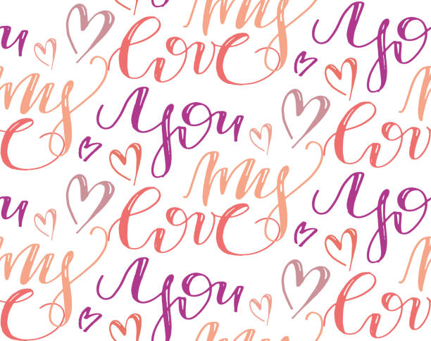 You my love - hand drawn lettering pattern Pattern love you blue silhouettes stock illustrations