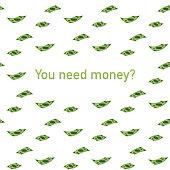 You Need money? American dollars, pack, parcel, batch, flock, cash. Vector illustration.