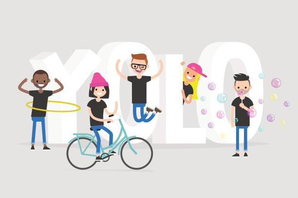 illustrazioni stock, clip art, cartoni animati e icone di tendenza di yolo. you only live once. a group of active teenagers standing near the 3d letters. conceptual illustrated 3d sign / editable flat vector illustration, clip art - gen z