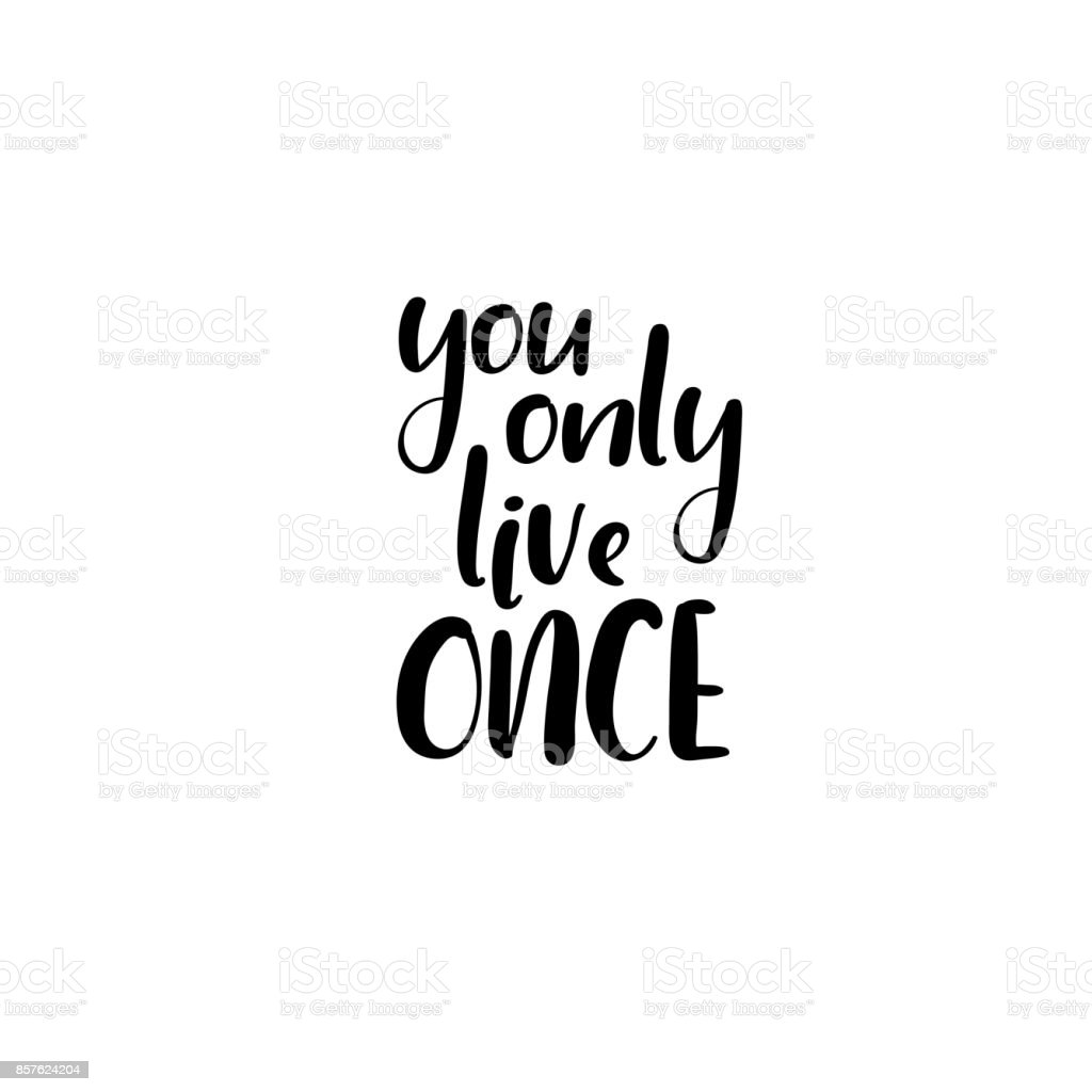 You only live once. Handwritten phrase. Lettering design. Vector inscription isolated on white background vector art illustration