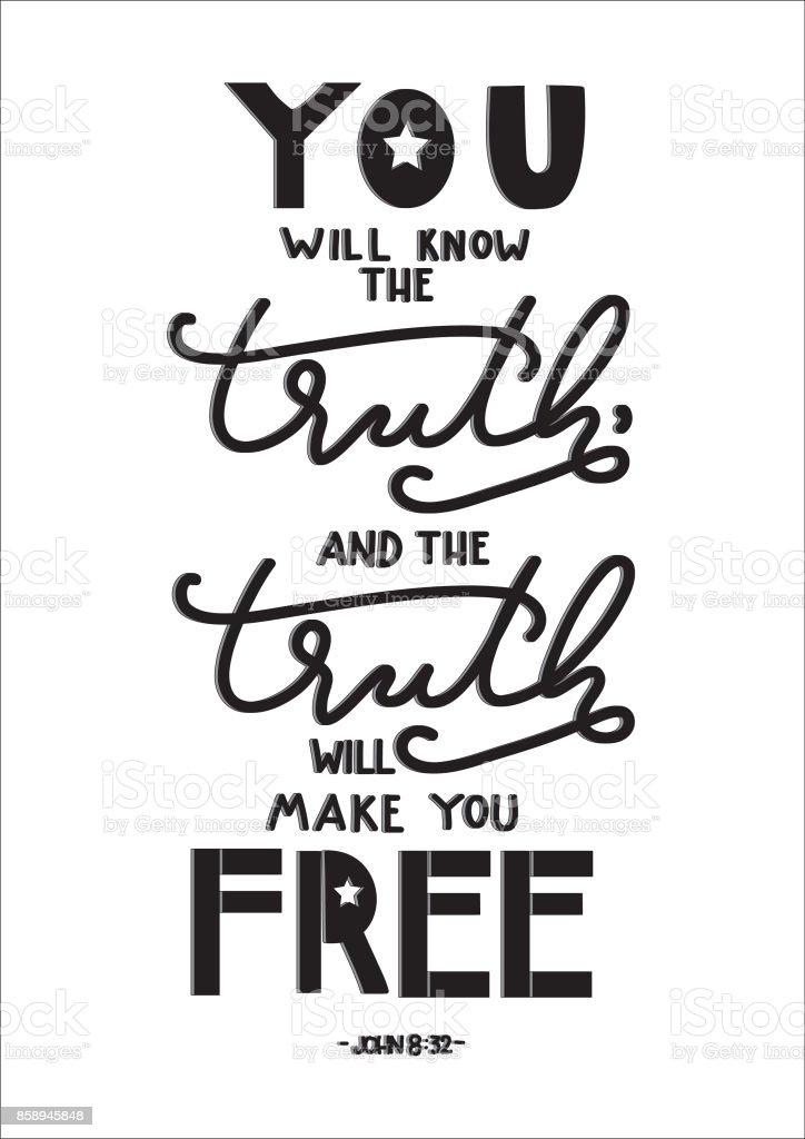 Ihr Werdet Die Wahrheit Erkennen Und Die Wahrheit Wird Euch Frei Machen U2013  Vektorgrafik