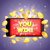 You win casino vector poster banner design template. Smart phone with dollar coins. Mobile gambling winner concept.
