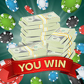 You Win. Winner Background Vector. Gambling Poker Chips Lucky Jackpot Illustration. Big Win Banner. For Online Casino, Playing Cards, Slots, Roulette. Money Stacks. Nightclub Billboard Concept
