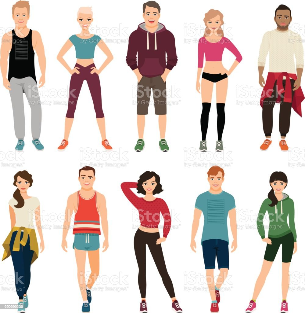 Yound people in sport outfits vector art illustration