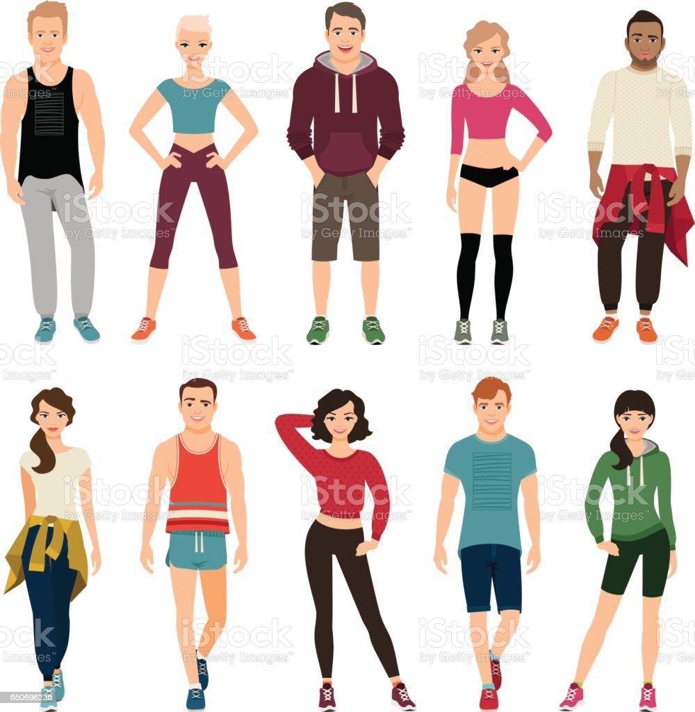 Jungen Menschen in Sport-outfits – Vektorgrafik