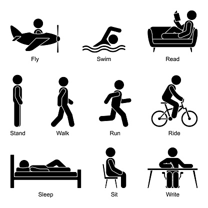 Young active cut out stick figure man flying, swimming, reading, standing, walking, going, running, riding, sleeping, sitting, writing vector illustration pictogram icon set on white background