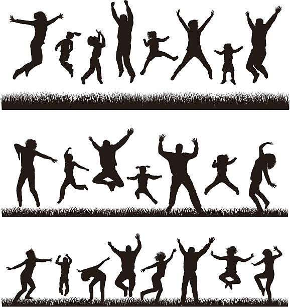 young active family. - jumping stock illustrations