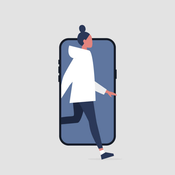 Young active female character stepping out of the smartphone screen. Millennial user. Mobile. Technologies. Flat editable vector illustration, clip art Young active female character stepping out of the smartphone screen. Millennial user. Mobile. Technologies. Flat editable vector illustration, clip art millennial generation stock illustrations