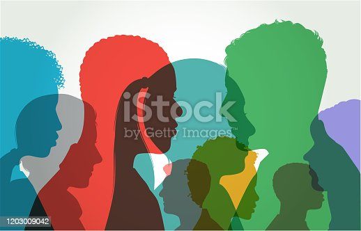 istock Young Adult Head Silhouettes 1203009042