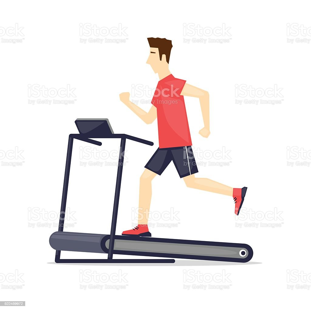 Jeune Adulte Homme Courir Sur Tapis Roulant Sport Centre De Remise