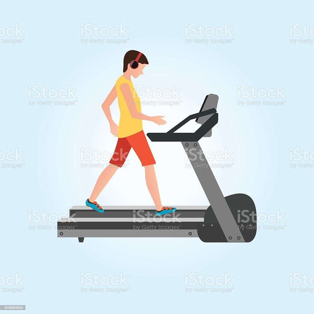 Young adult man running on treadmill. vector art illustration