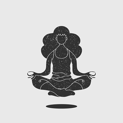 Young adult woman doing yoga silhouette illustration