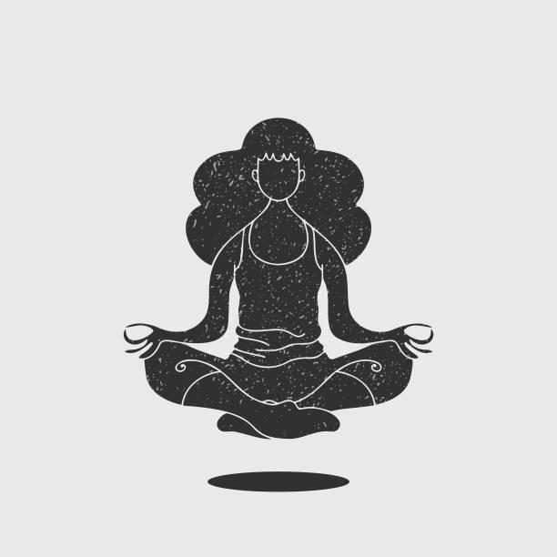 illustrazioni stock, clip art, cartoni animati e icone di tendenza di young adult woman doing yoga silhouette illustration - ambientazione tranquilla