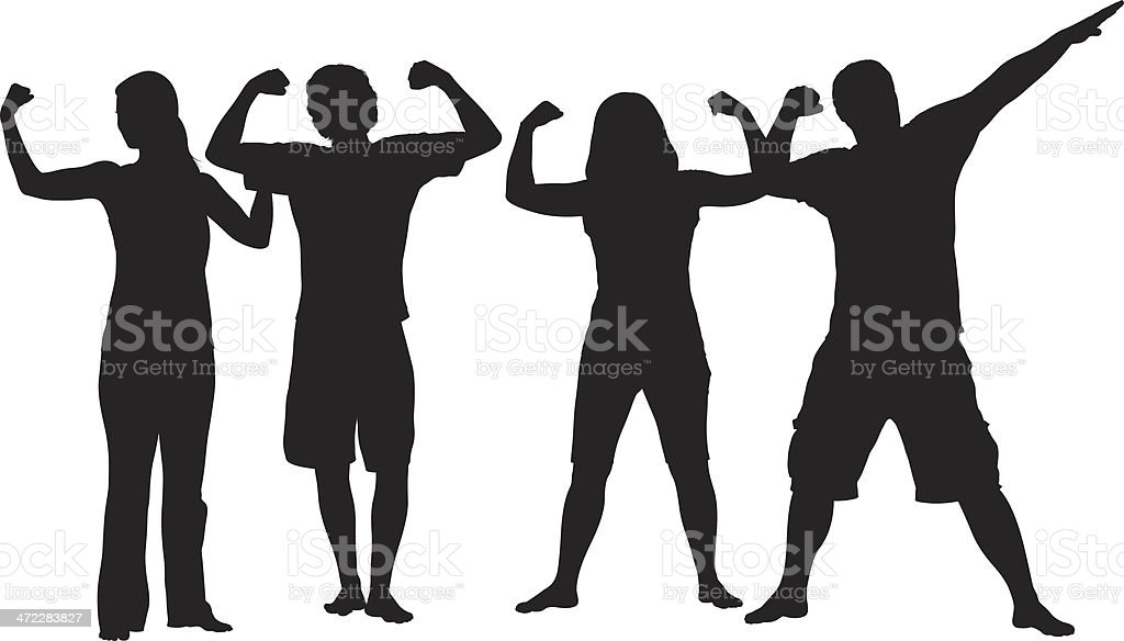 Young adults flexing their muscles vector art illustration