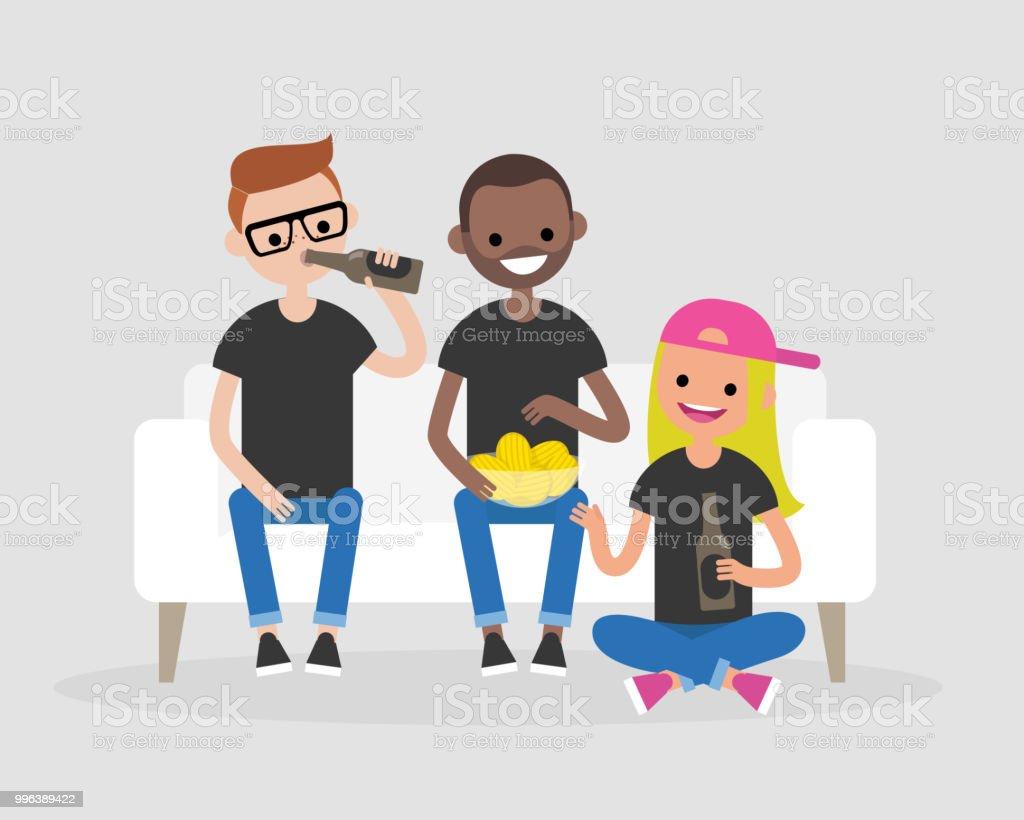 若い大人は一緒に集まりビールを飲みスナックを食べるします現代のライフ