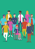 Flat style Vector Illustration, set of diverse Young adult or student characters.