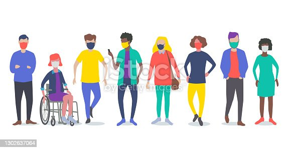 istock Young adults or students with Face Masks 1302637064